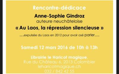 Rencontre dédicace avec Anne-Sophie Gindroz
